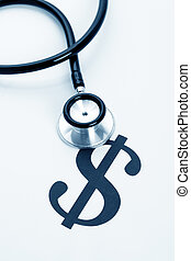 Stethoscope and dollar sign, concept of Financial Health