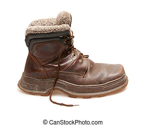 boot - old brown boot isolated on white
