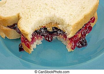 Close view sandwich bitten
