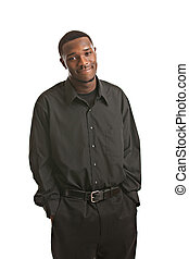 Young Black Business Man Portrait, Smiling Isolated on White...