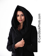 Woman in hood - Beautiful asian or ethnic woman wearing a...
