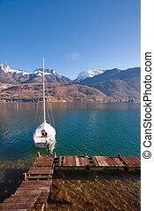 Anchored Sailboat Alps Lake