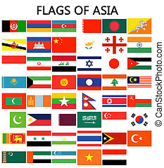 Flags of Asia - Complete set of Flags of the world sorted...