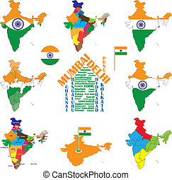 India map, indian cities, states and india flag - India map...