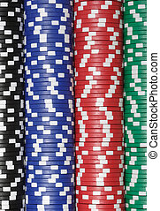 Close up of a huge stack of Casino Chips
