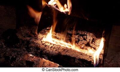 Fireplace Burning Logs