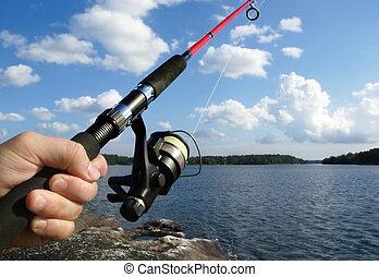 fishing in a lake