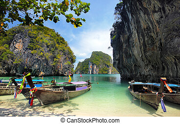 Long tailed boats in Thailand