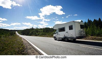 caravan on a road