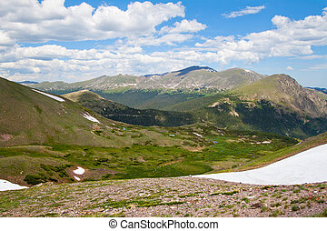 Alpine meadow in Rocky Mountains, Colorado in summer view...