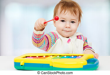 beauty child - little child playing with with toys