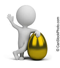 3d small people - golden egg - 3d small person standing next...