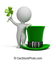 3d small people - hat of Saint Patrick - 3d small person...