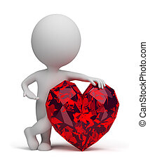 3d small people - ruby heart - 3d small person next to ruby...