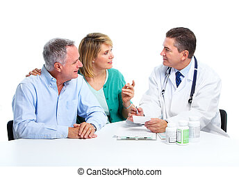 Doctor and patient senior couple - Medical doctor and...