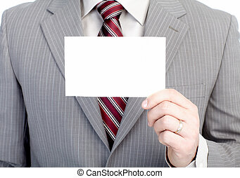 Businessman with a card.