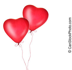 vermelho, Coração, balões