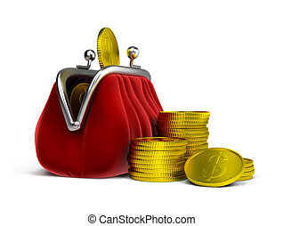 purse and coins - Red velvet purse and gold coins. 3d image....