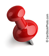 pushpin - Red pushpin 3d image Isolated white background
