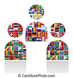 world flags with people