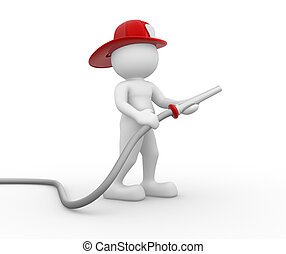 Fireman - 3d people - human character , person with hose and...