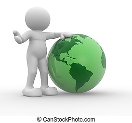 Earth globe - 3d people - human character, person and the...