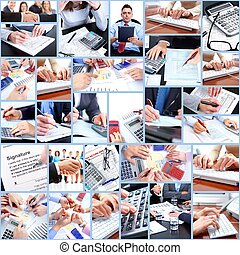 Business collage. - Business people working in the office....