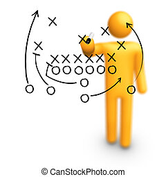 American football Strategy - Stick Figure Coach American...