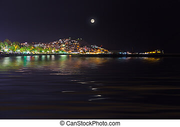 Night view of Kusadasi Turkey - travel background