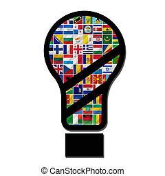 world flags with lamp