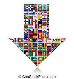 world flags with arrow