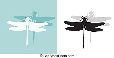 Dragonfly silhouette isolated