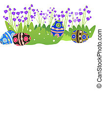 Illustration with Easter eggs - Ornament with Easter egg and...