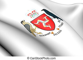 Isle of Man Coat of Arms. Close Up.