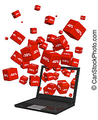 Laptop and red boxes with the goods at a discount. Objects...