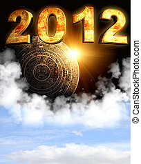 2012 Maya prophecy Vertical background with calendar and...