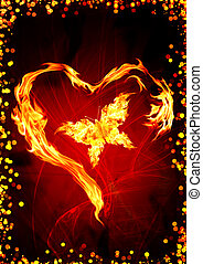 Burning heart - Bright flame in the form of heart and...