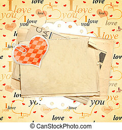 Valentine background - Square valentine background with red...