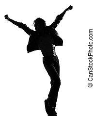 cadera, salto, canguelo, bailarín, bailando, hombre