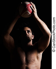 sexy topless rugby man portrait - one caucasian sexy topless...