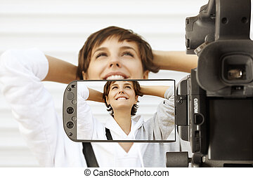 Video digital camera - Taking movie with professional...