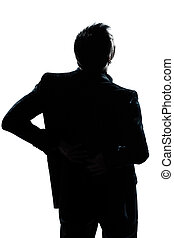 silhouette man portrait backache