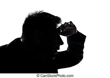 silhouette man portrait looking forward gesture