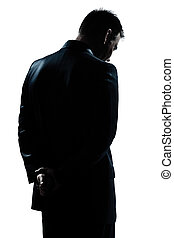 silhouette man portrait backside sad despair lonely - one...