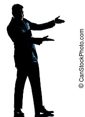silhouette man full length showing pointing empty copy space