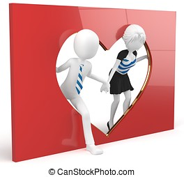 3d man and girl lovers with a heart shape cutout