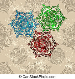 vector three abstract flowers on seamless wallpaper