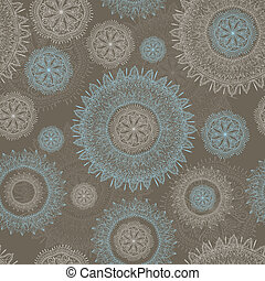 vector seamless lacy  pattern with snowflakes and flowers