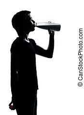 one young teenager boy or girl drinking milk silhouette