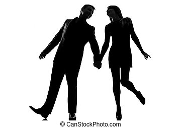 one lovers couple man and woman walking holding hands